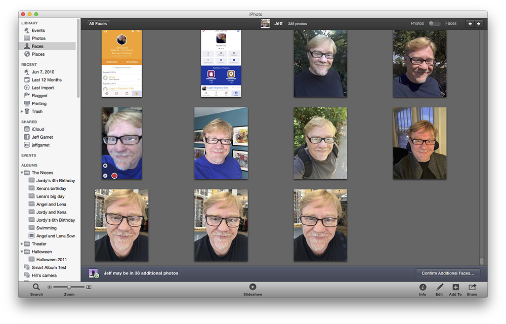 iPhoto, with thumbnail images restored.