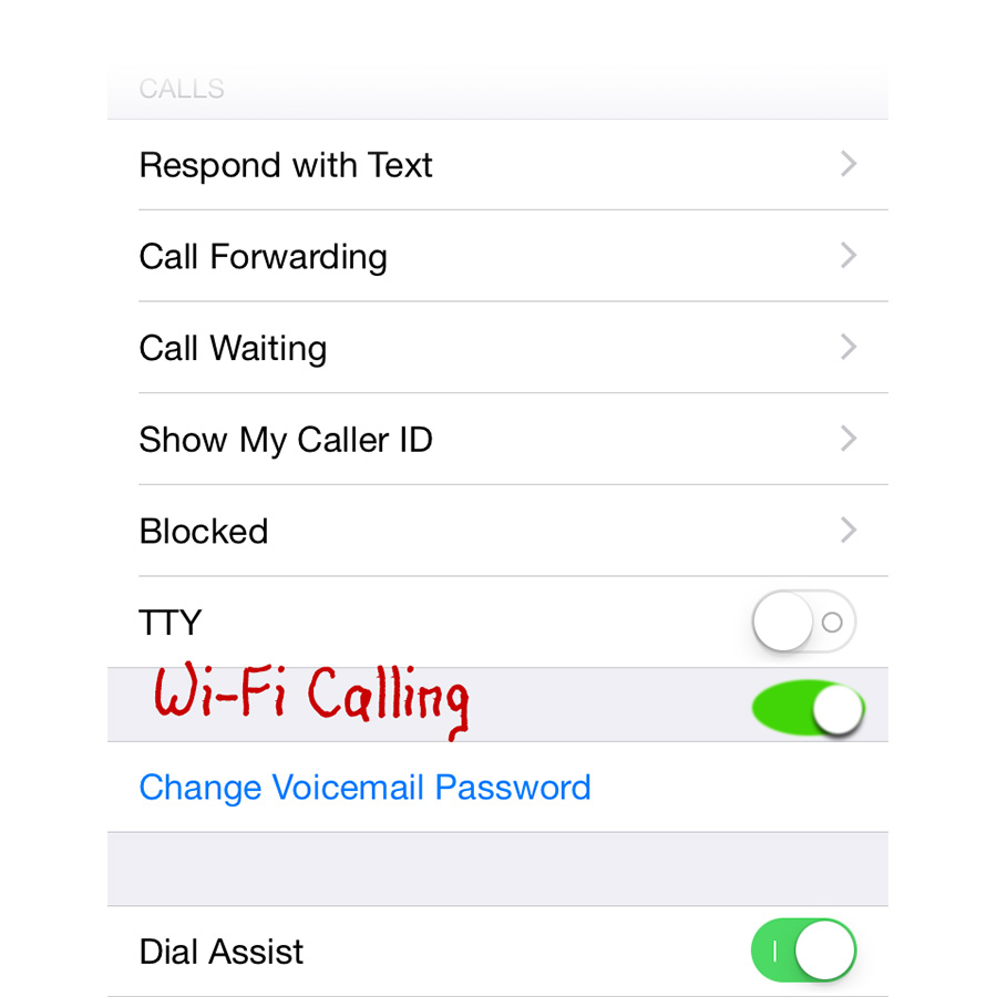Wi-Fi Calling setting on the iPhone (artist rendition)