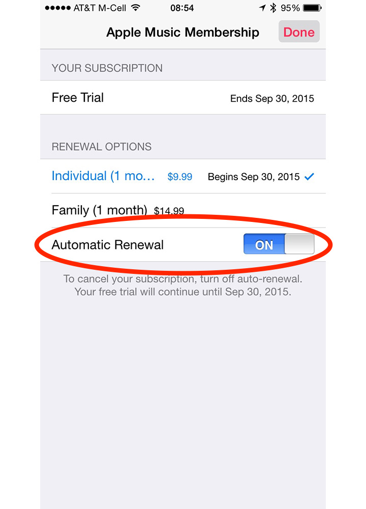 Tap the Auto Renewal switch to turn off Apple Music automatic payments