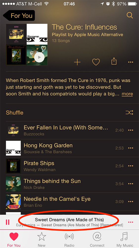 Tap the title of the playing song to see more controls