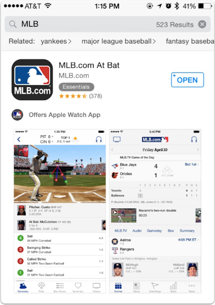 MLB app in the App Store