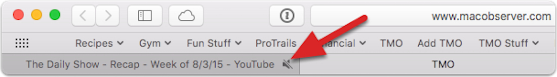 OS X El Capitan Safari audio icon muted