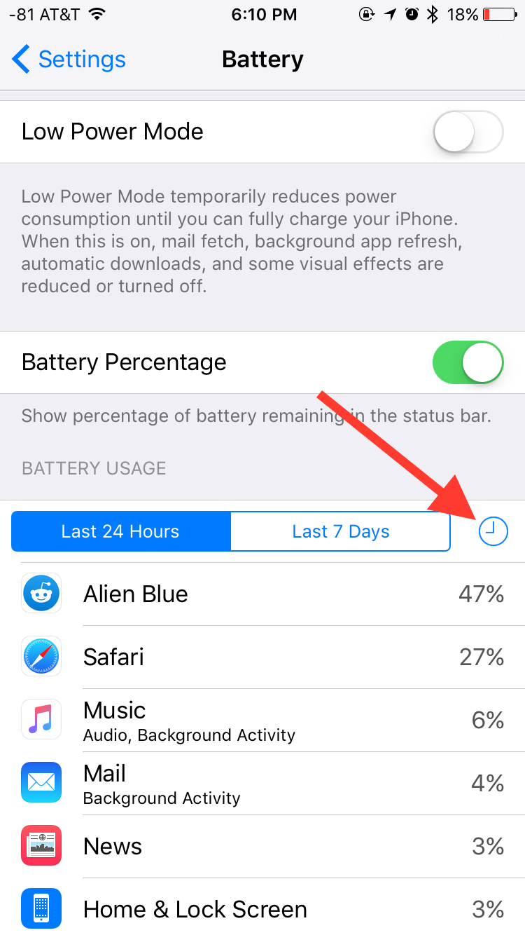 iOS 9 battery details