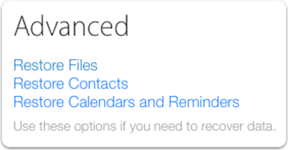 iCloud settings advanced options
