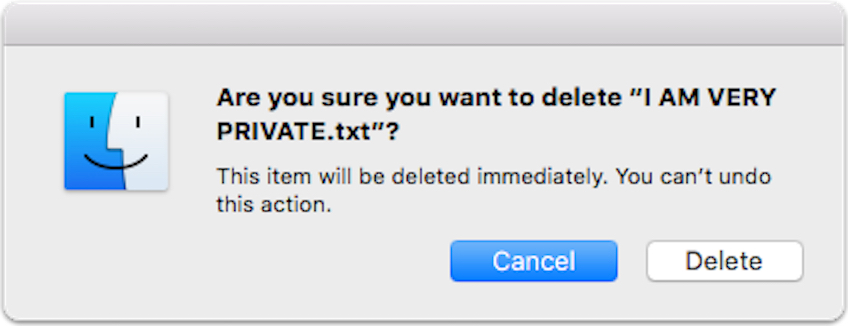 OS X El Capitan delete warning