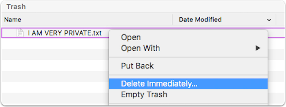 OS X El Capitan Delete Immediately pop-up menu