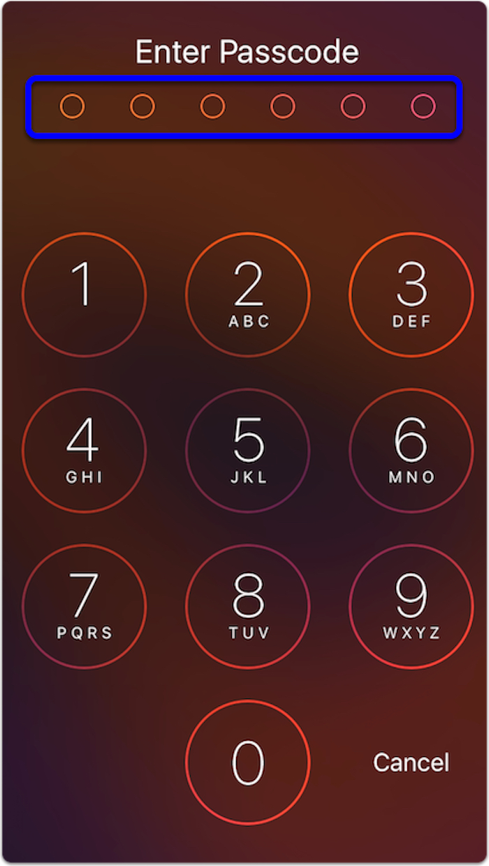 New iOS 9 passcode lock screen