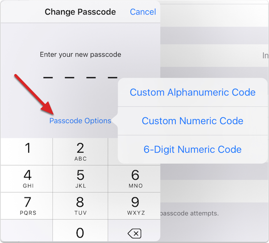 Entering a new passcode in iOS 9