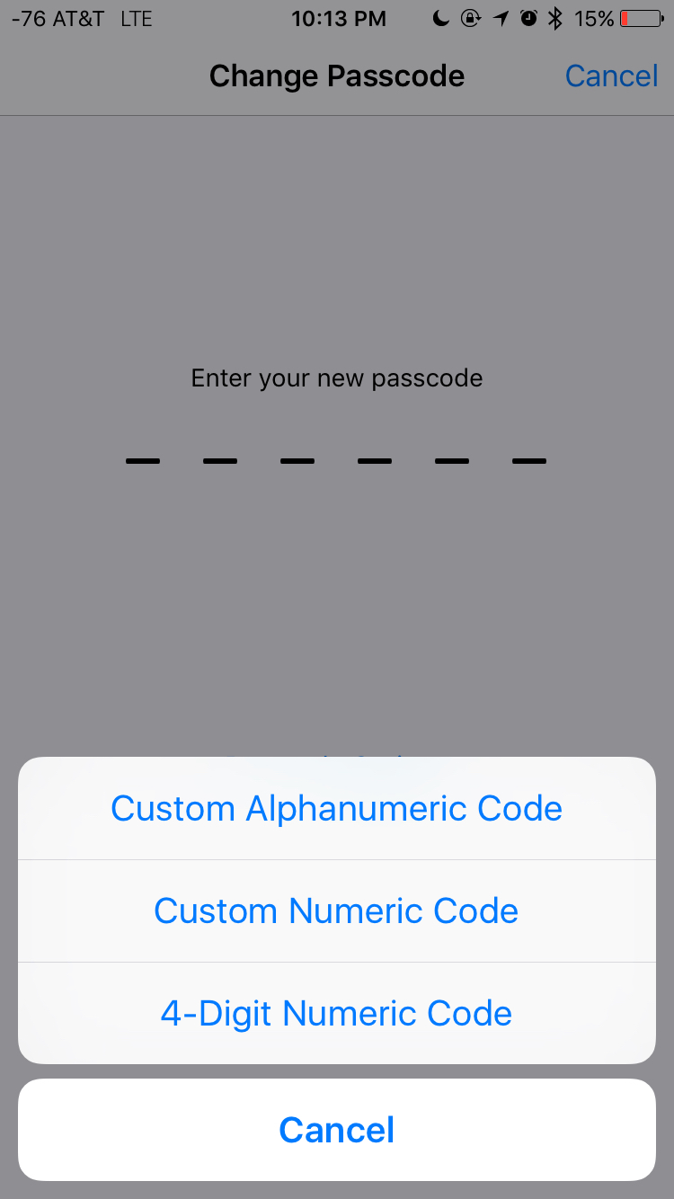 Changing iPhone passcode in iOS 9