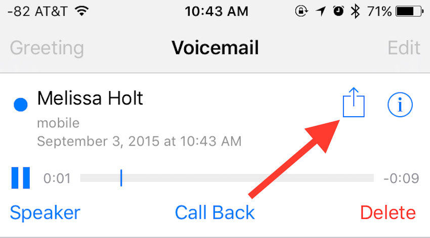 iOS 9's Voice Mail sharing option