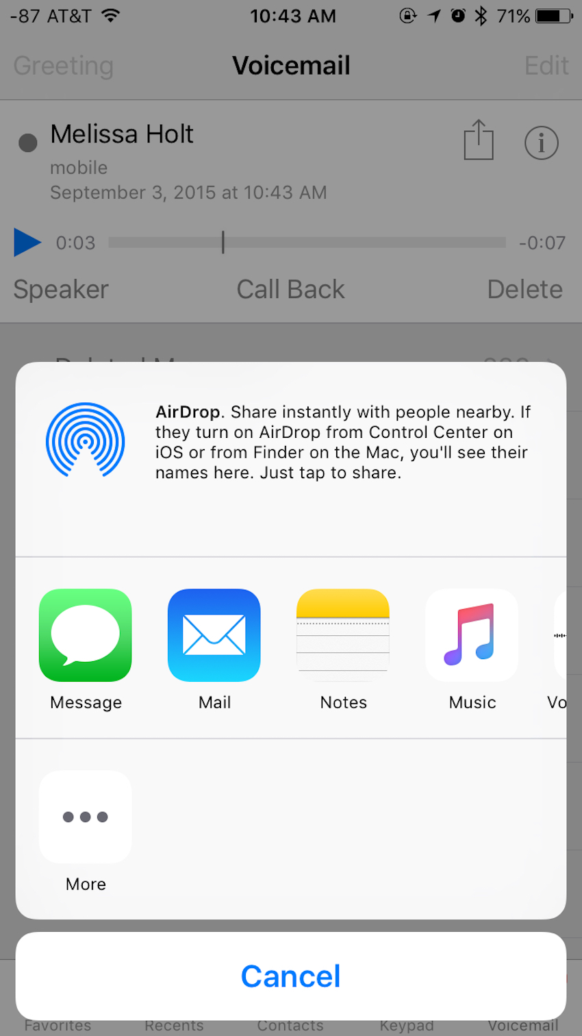 You can share Voice Mails via AirDrop, SMS, email, and more