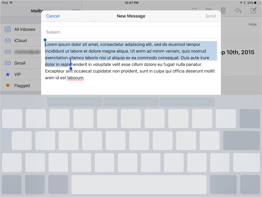 Selecting text with two fingers in iOS 9