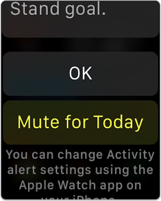 watchOS 2's mute option for reminders to stand