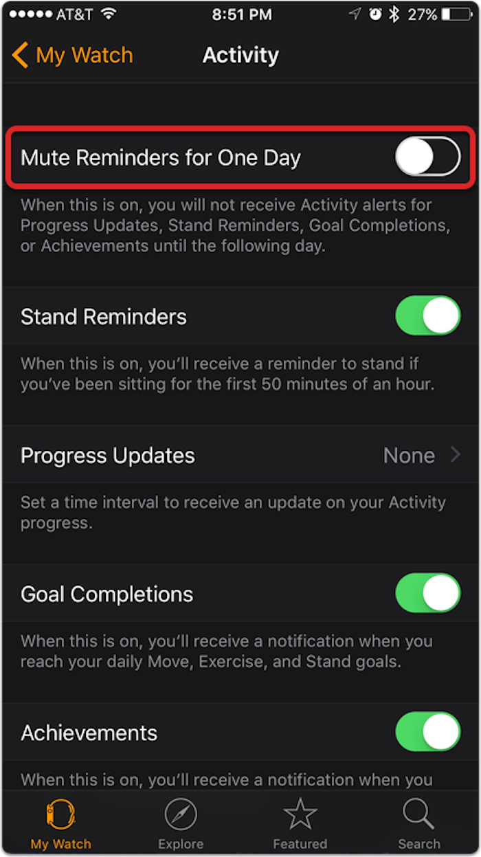 Mute Apple Watch reminders from the Watch app on your iPhone