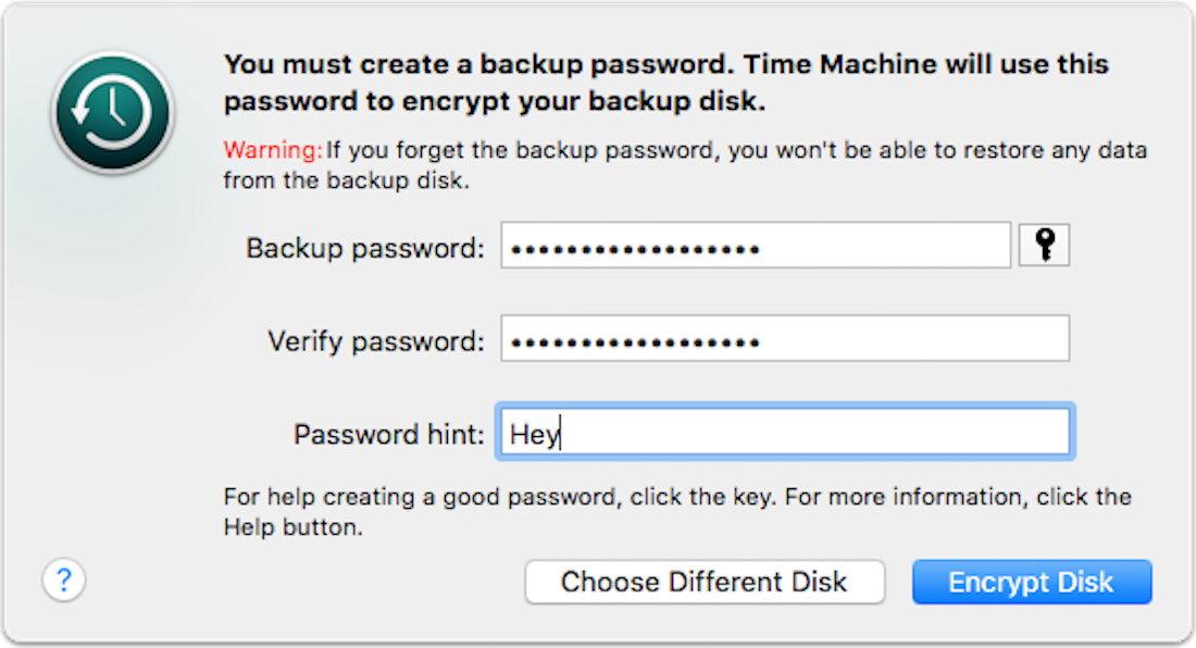Setting a Time Machine password