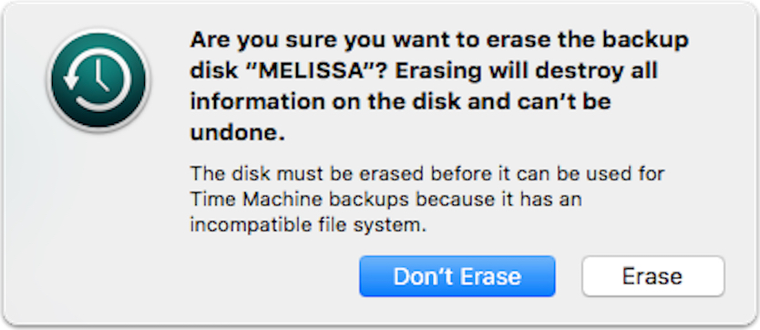 Time Machine's Erase Disk warning