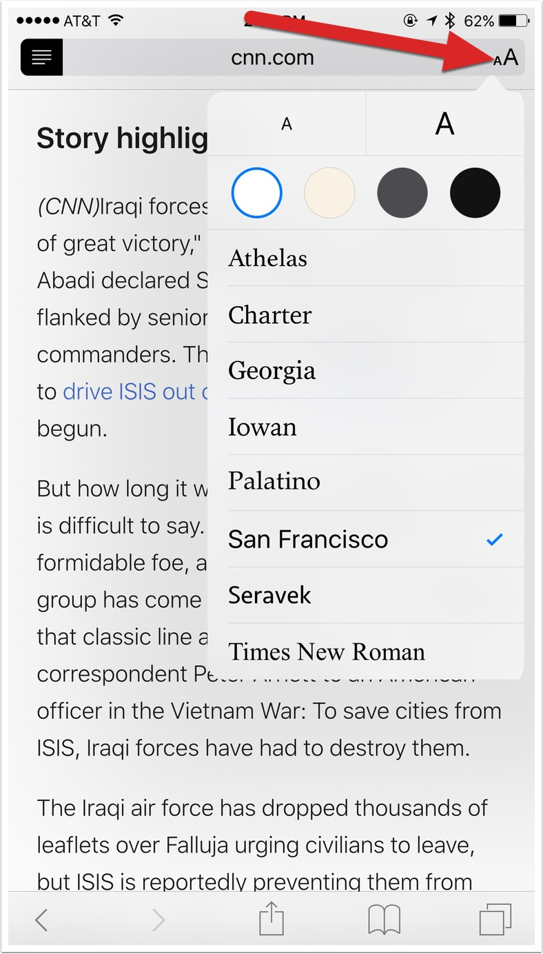 El Capitan: Adjust Safari's Reader Settings