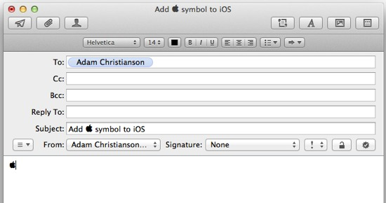 Send Apple Symbol in Email