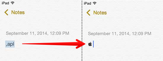 Expanded Apple Symbol in Notes App