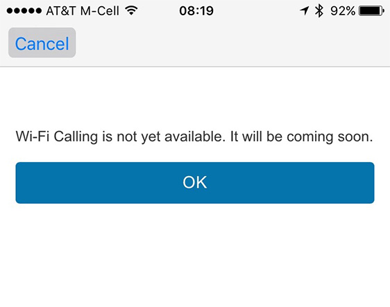 Denied? That means AT&T hasn't enabled Wi-Fi calling in your area yet.