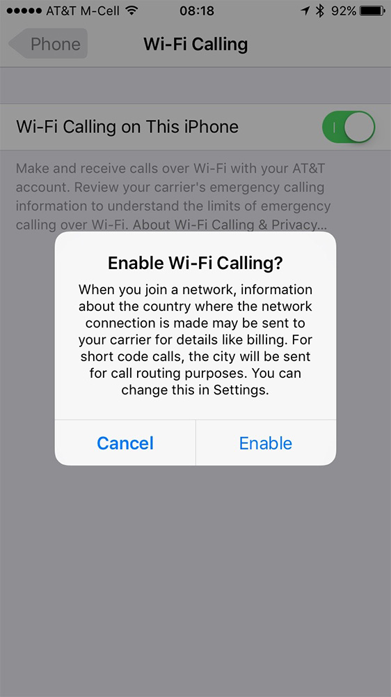 Tap Enable to really turn on Wi-Fi Calling