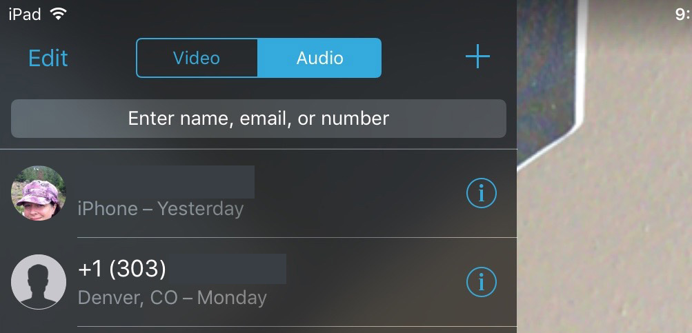 Tap Audio in FaceTime to start a phone call from your iOS device