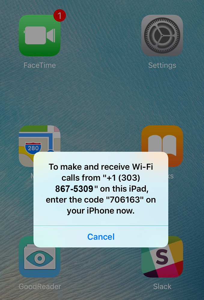 Enter the displayed code into your iPhone to activate Wi-Fi calling and NumberSync