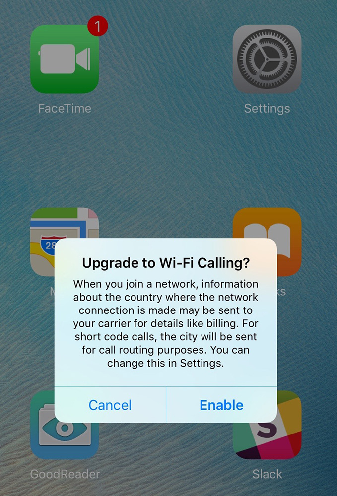 Enable Wi-Fi calling on your iOS device to use AT&T's NumberSync