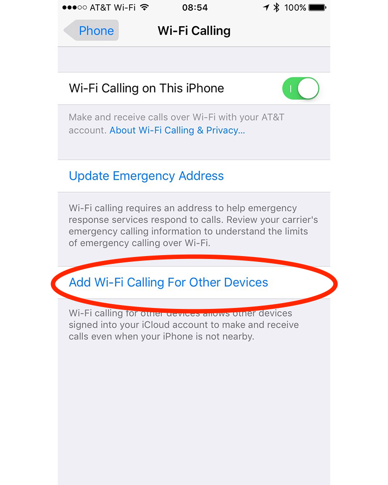 After turning on Wi-Fi calling on your iPhone, enable Wi-Fi calling for other devices