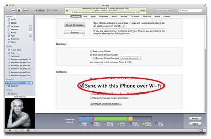 iTunes Wi-Fi sync setting