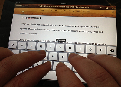 iPad mini with virtual keyboard in landscape mode