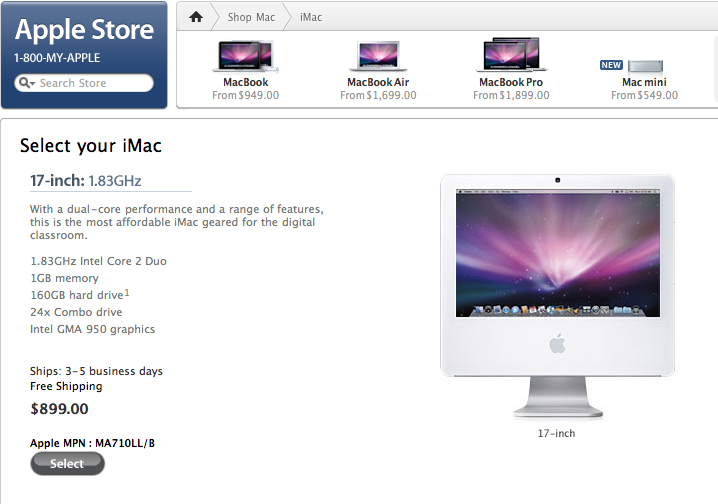 "A screen shot of Apple's 17"" iMac for schools"