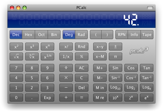 PCalc for Mac OS X