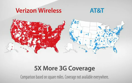 Screenshot from Verizon's ad showing side-by-side 3G network maps.