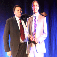 Telstra CEO David Thodey preseting with a live hologram in 2008