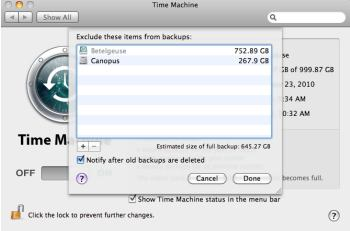 Time Machine options