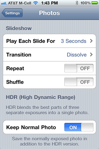 HDR Settings