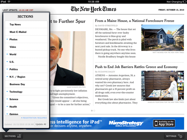 NYTimes for iPad Screenshot
