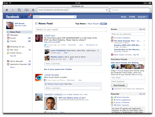 Facebook on iPad Safari