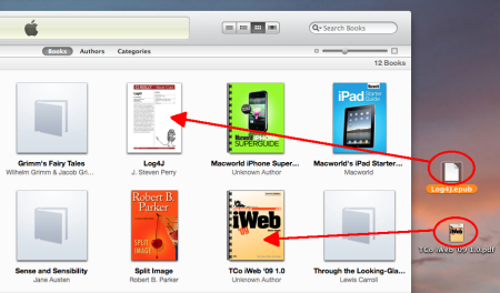 Drag EPUBs to iTunes