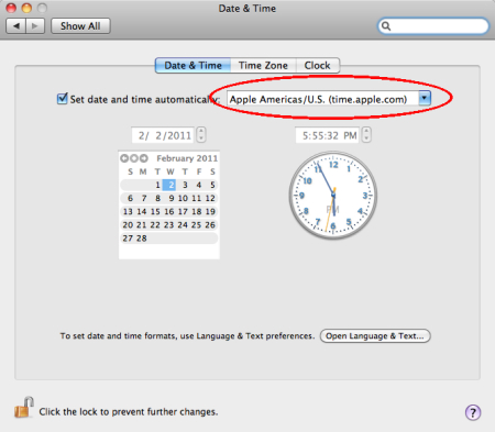 Osx clock not updating