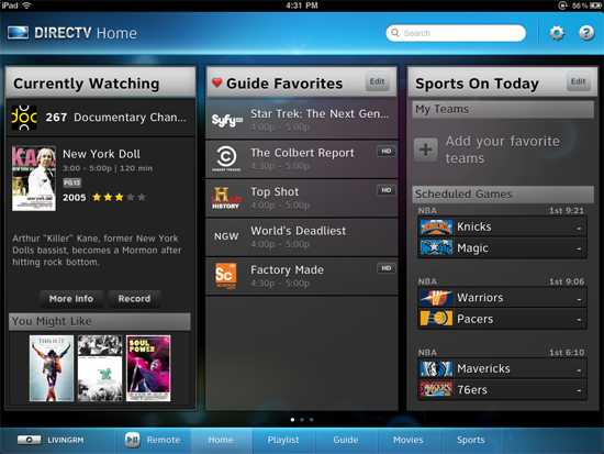 DIRECTV App for iPad Screenshot