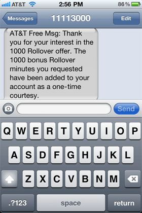 AT&T Confirmation Text