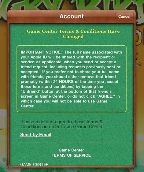 Game Center T&C