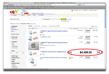 Cha-ching! WWDC tickets are expensive on eBay!