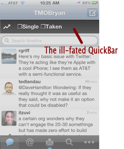 QuickBar Screen