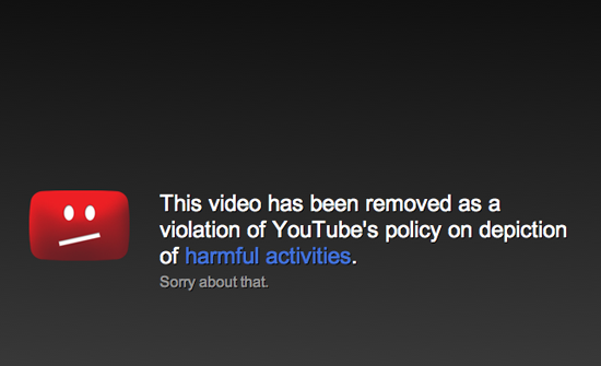 YouTube Policy Violation Still