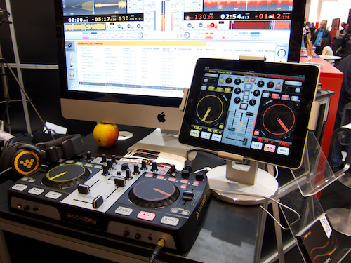 MixVibes DJ setup with U-MIX REMOTE on iPad and a real hardware controller