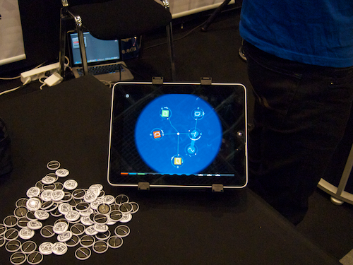An iPad displaying the Reactable mobile app on its screen