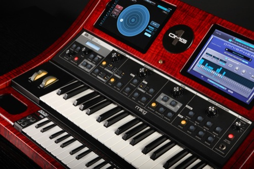 The Spectrasonics OMG-1 with Moog Little Phatty, dual iPads, dual iPods, and a Mac running Omnisphere